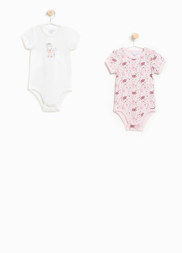 Two-pack patterned bodysuits in cotton