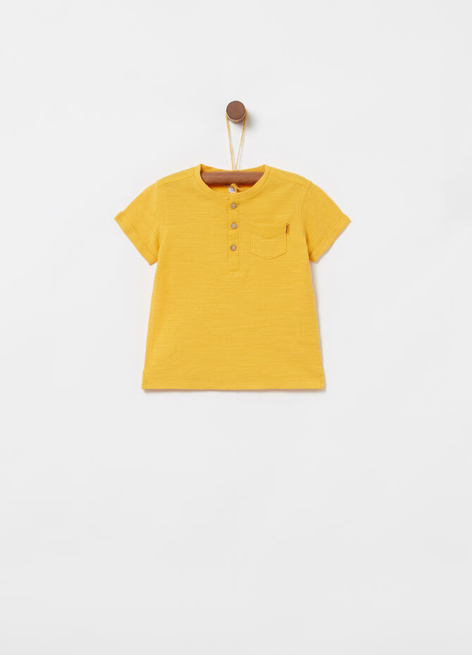 Cotton T-shirt with pocket and granddad neckline
