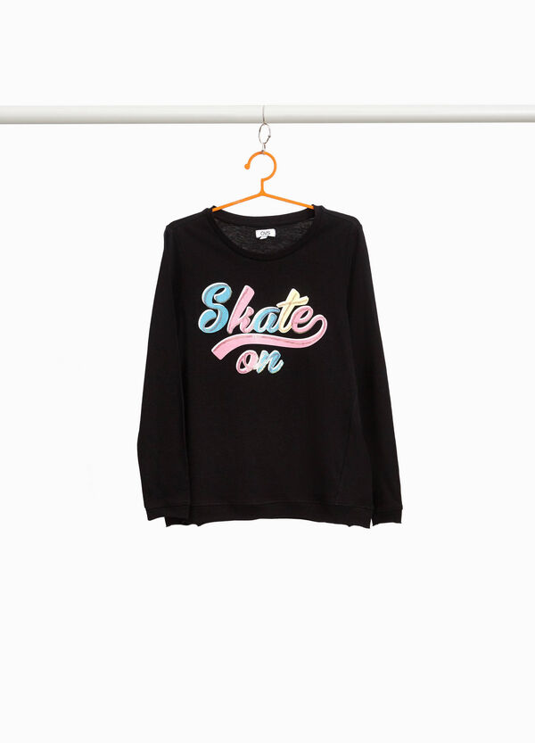 Cotton T-shirt with lettering and sequins