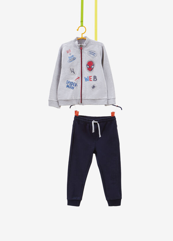 Mélange tracksuit with patch and Spiderman print