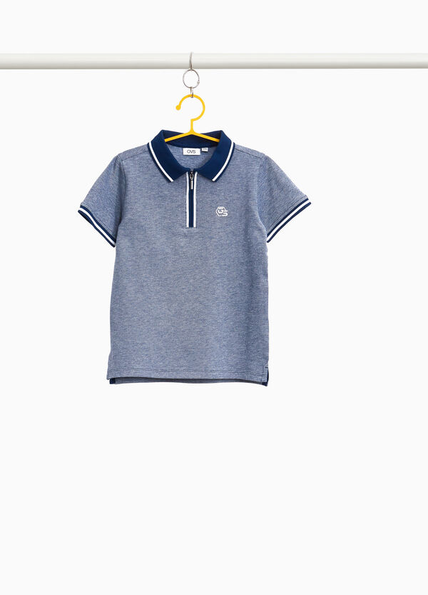 Stretch cotton polo shirt with zip
