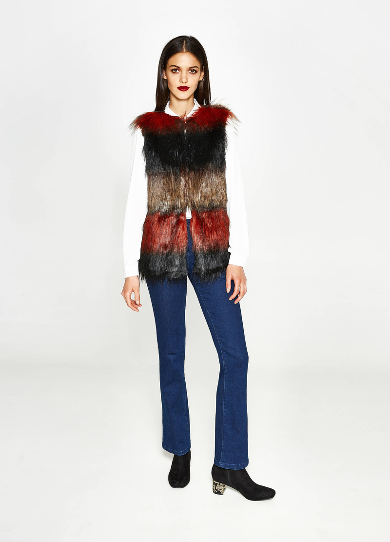 Gilet in similpelliccia a righe image number null