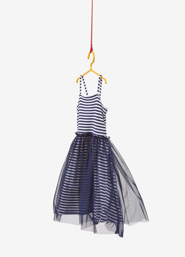 Stretch cotton dress with stripes and tulle