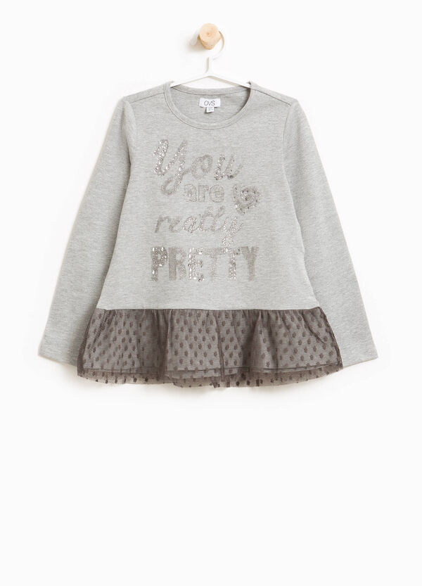 T-shirt in cotone stretch stampa e strass | OVS