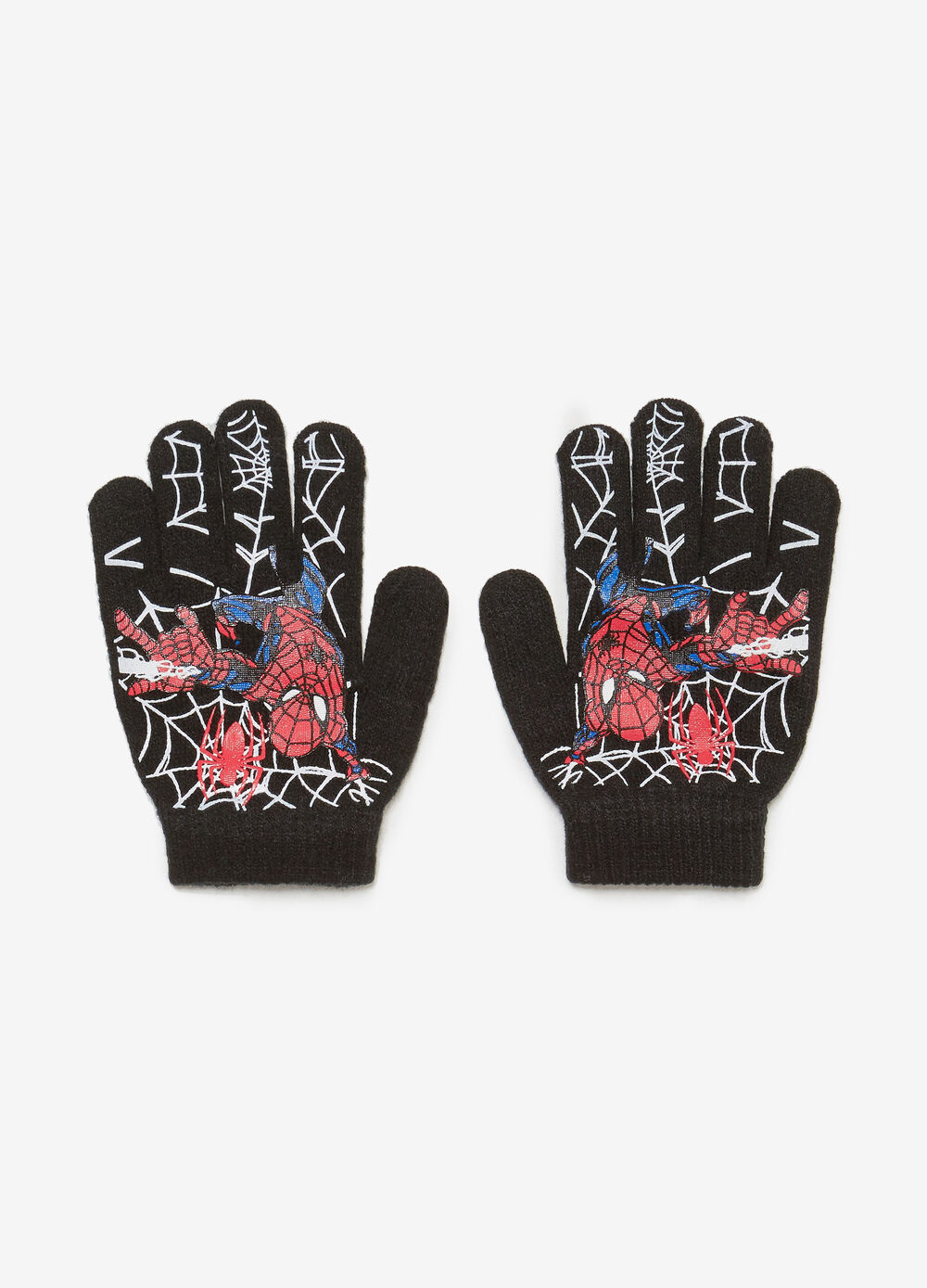 Solid colour gloves with maxi Spiderman print