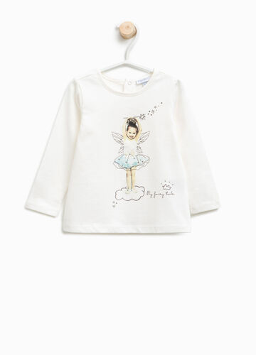 T-shirt with fairy print and diamantés