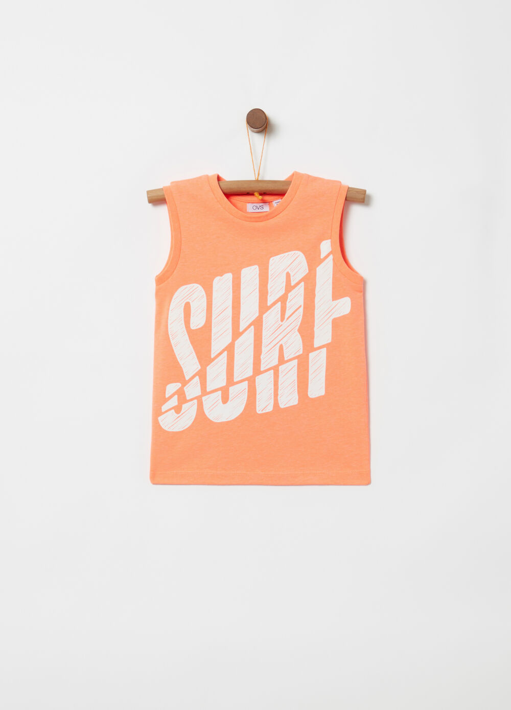 Vest top with ribbing and print