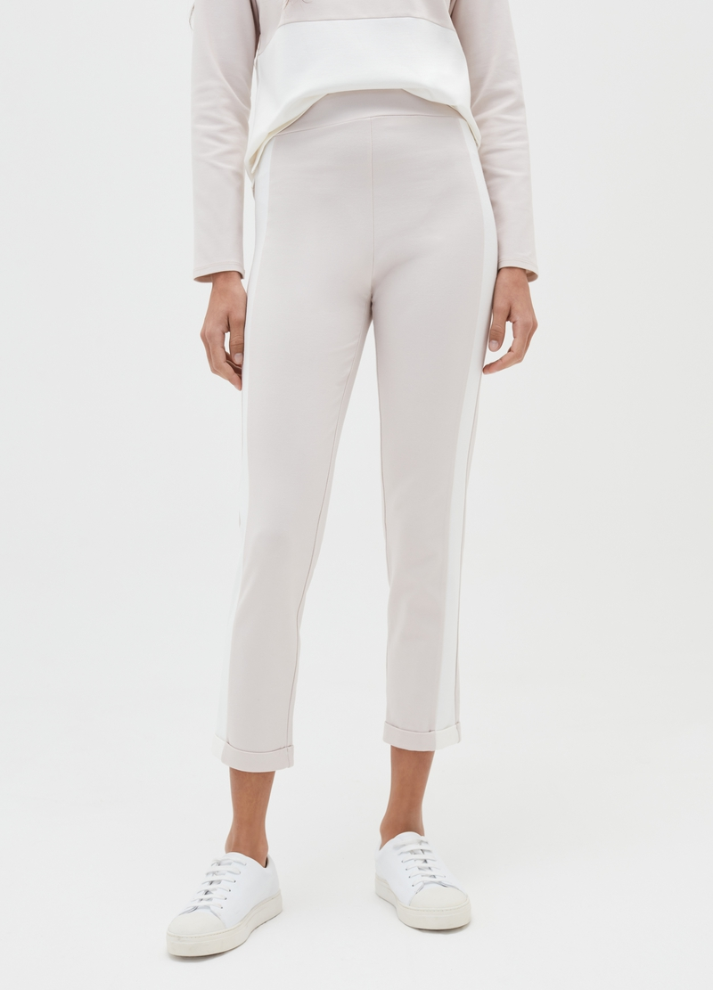 Treggings crop con bande laterali image number null