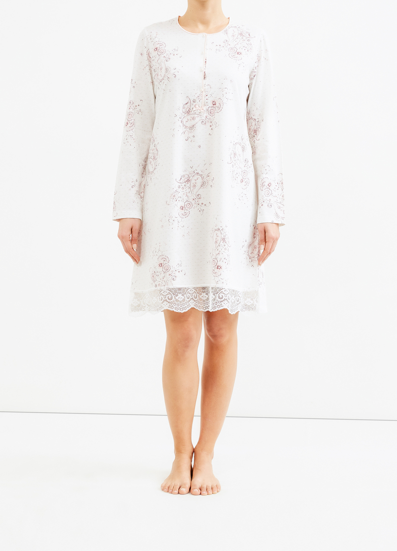 Floral nightshirt with lace image number null