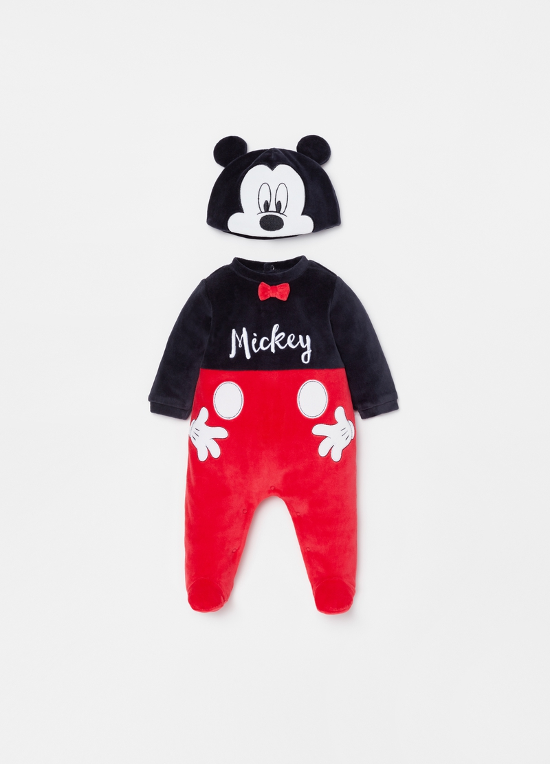 Mickey Mouse hat and onesie with feet set image number null