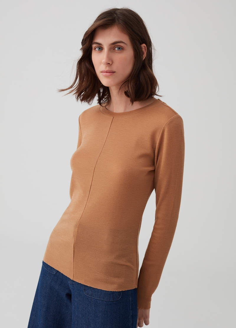 Long-sleeved T-shirt in 100% wool image number null