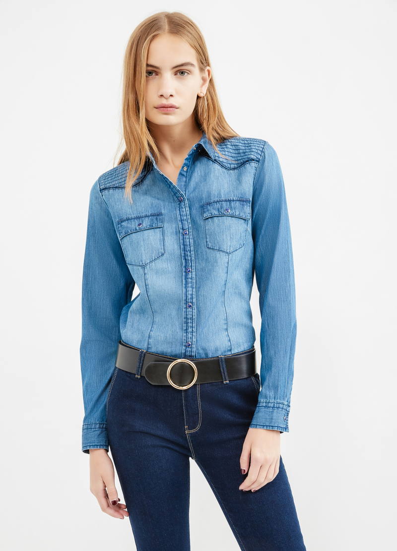 Denim shirt with double pocket image number null