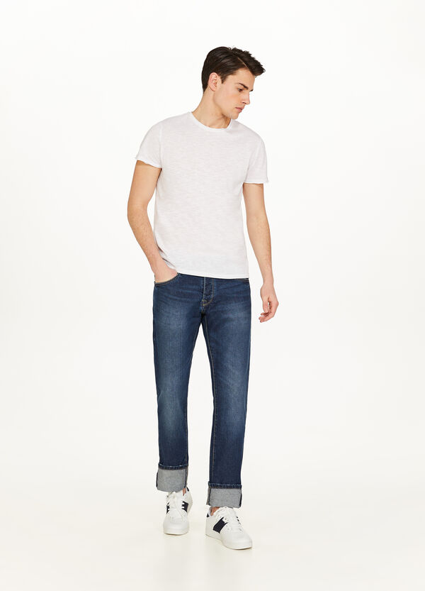 Regular-fit worn-effect jeans with turn-ups