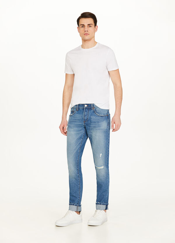 Jeans straight fit used con strappo