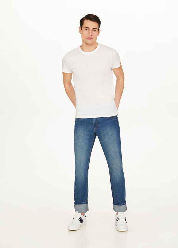 Regular fit washed jeans with discolouring