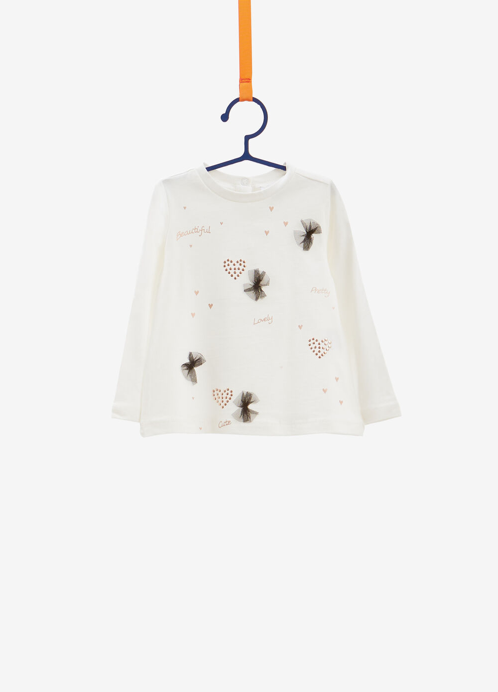 Cotton T-shirt with glitter print and studs