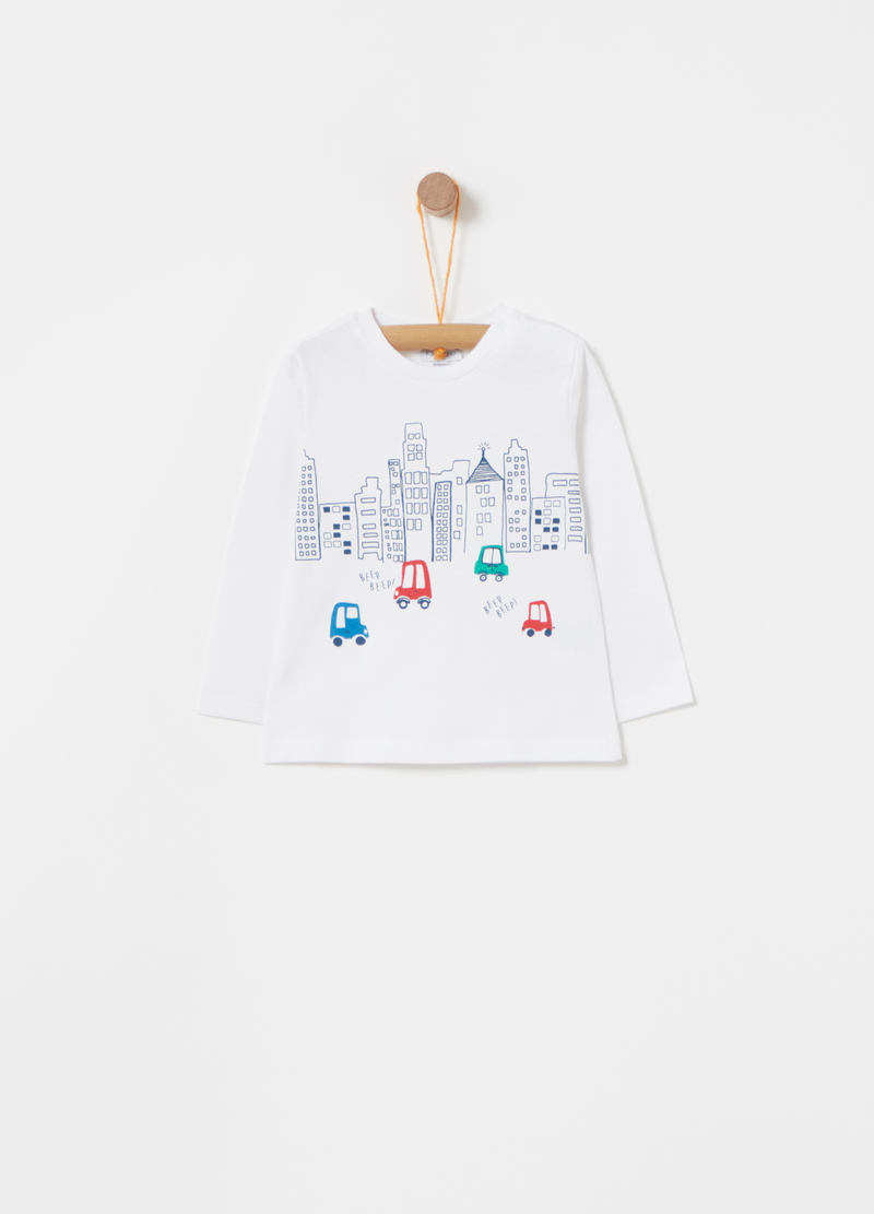 Long-sleeved cotton T-shirt with print image number null