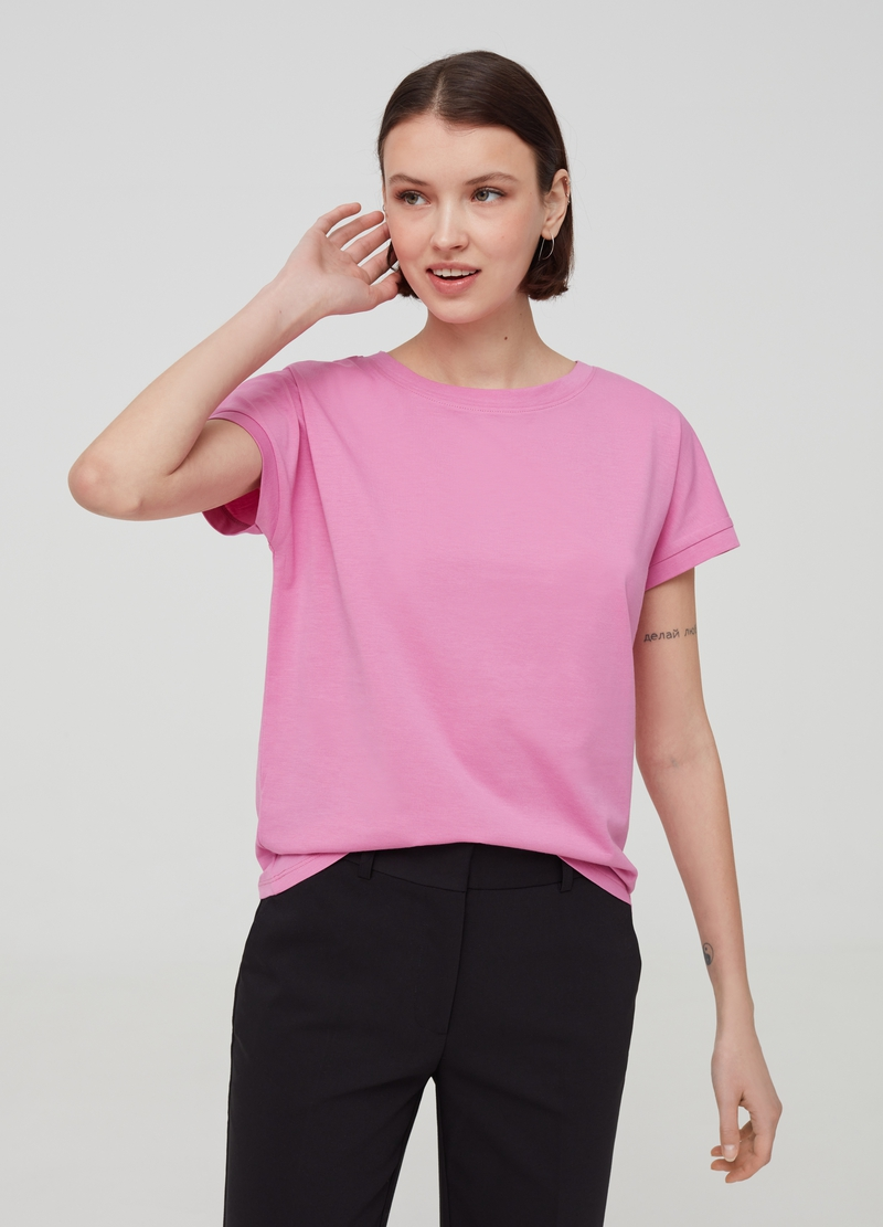 T-shirt in solid colour 100% Pima cotton image number null