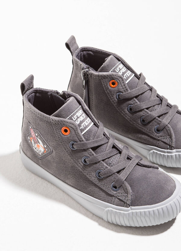 High-top sneakers with speckled upper
