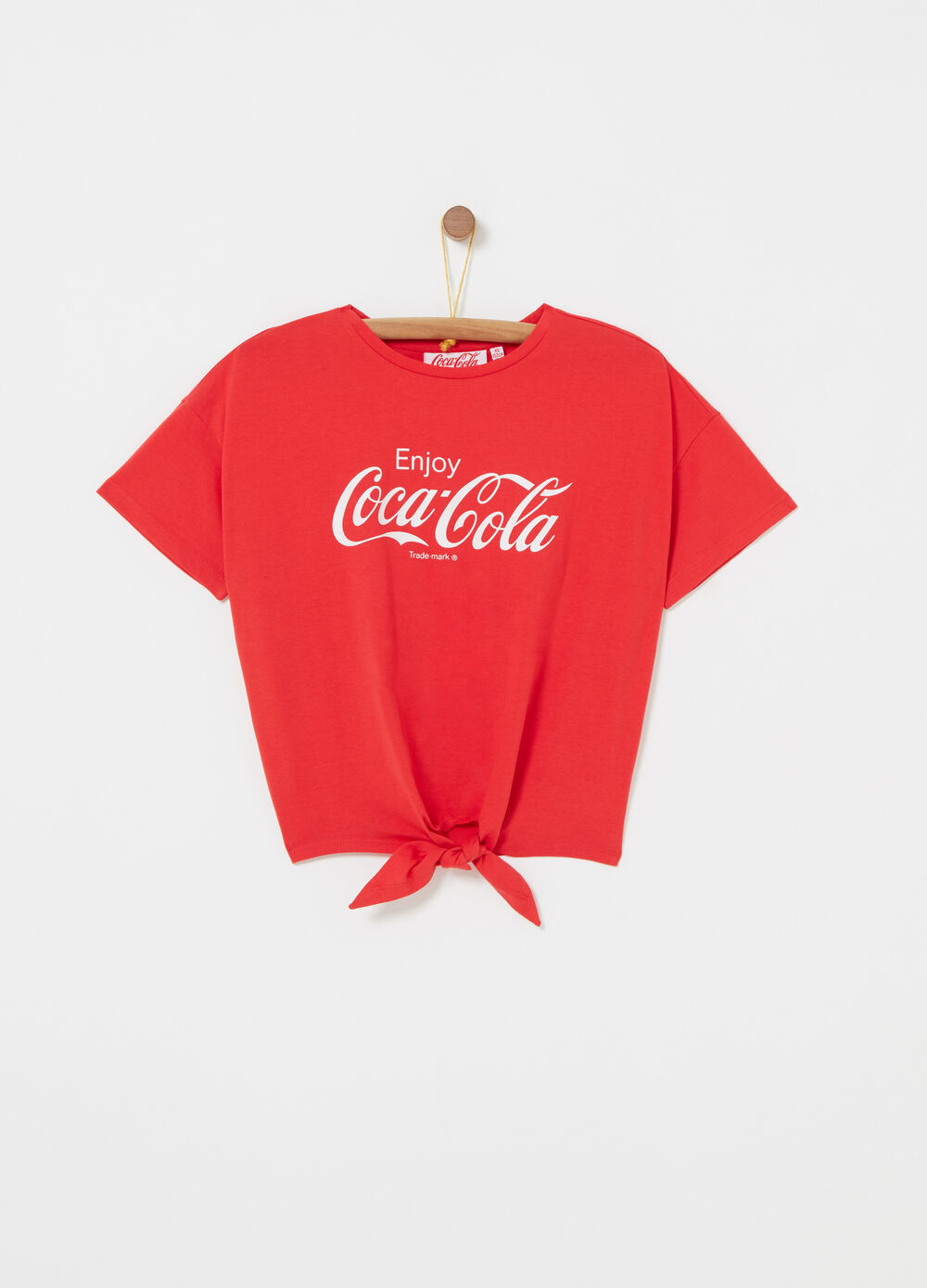Boxy T-shirt with Coca Cola knot on the hem