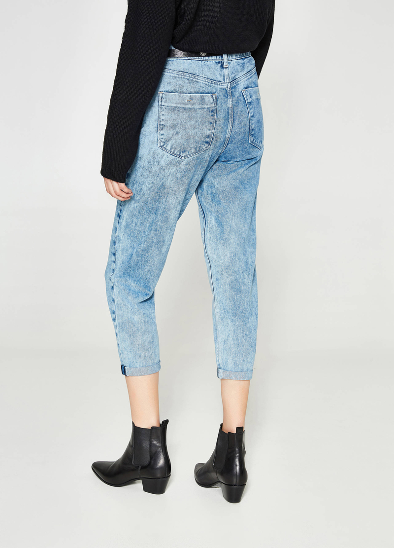 Jeans mom fit tinta unita cuciture image number null