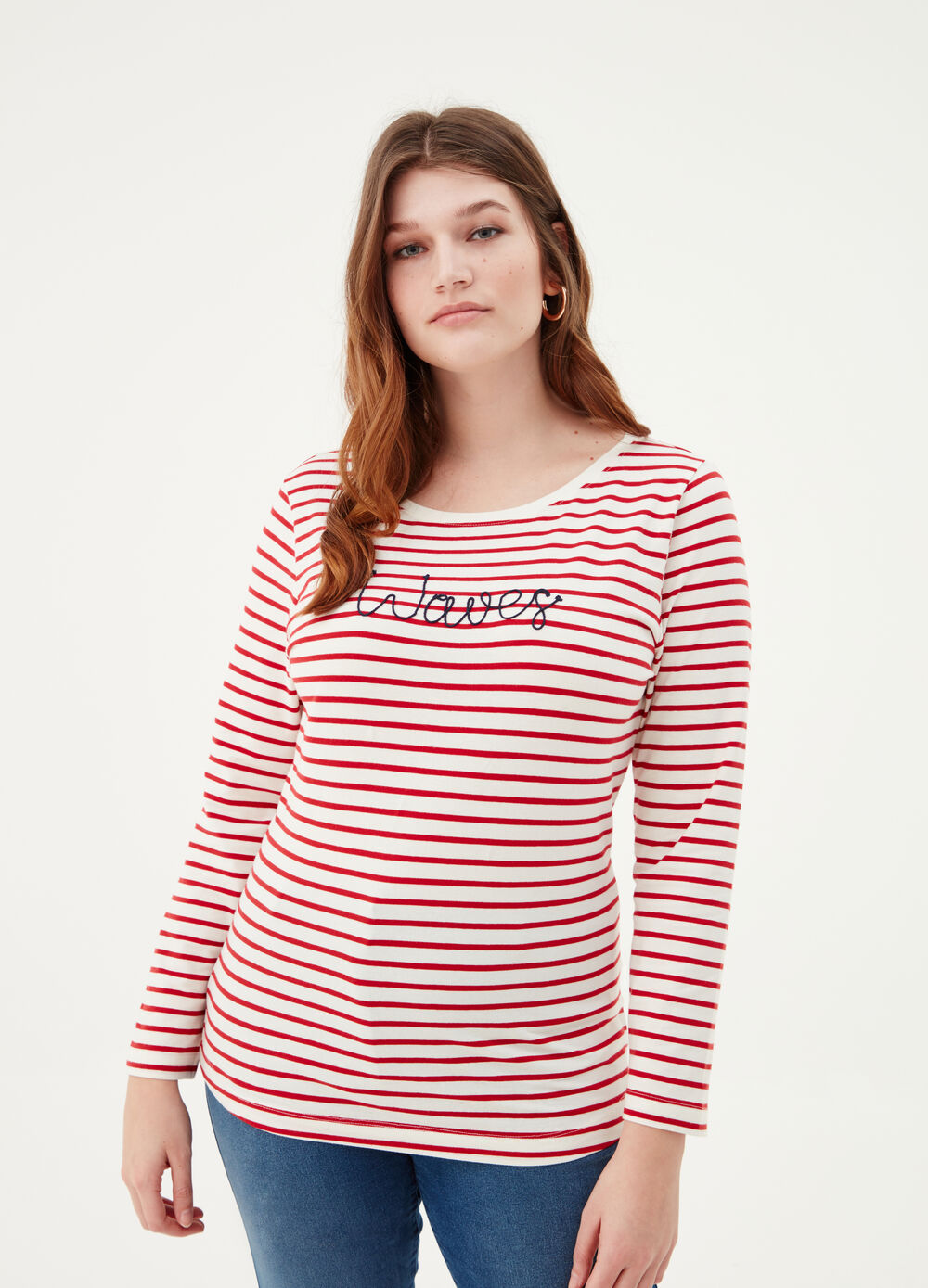 Curvy BCI T-shirt with striped embroidery