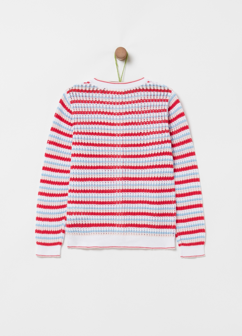 Striped knitted cardigan in 100% cotton image number null