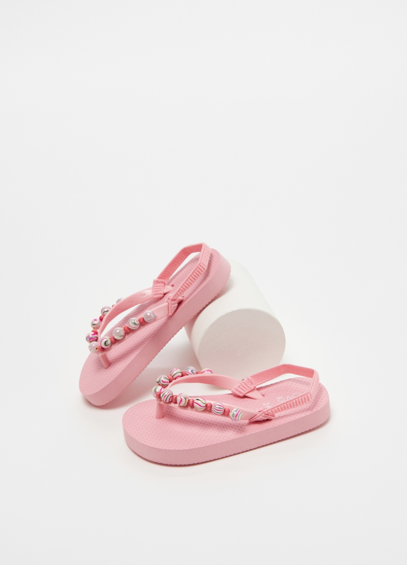 Thong slippers with beads image number null