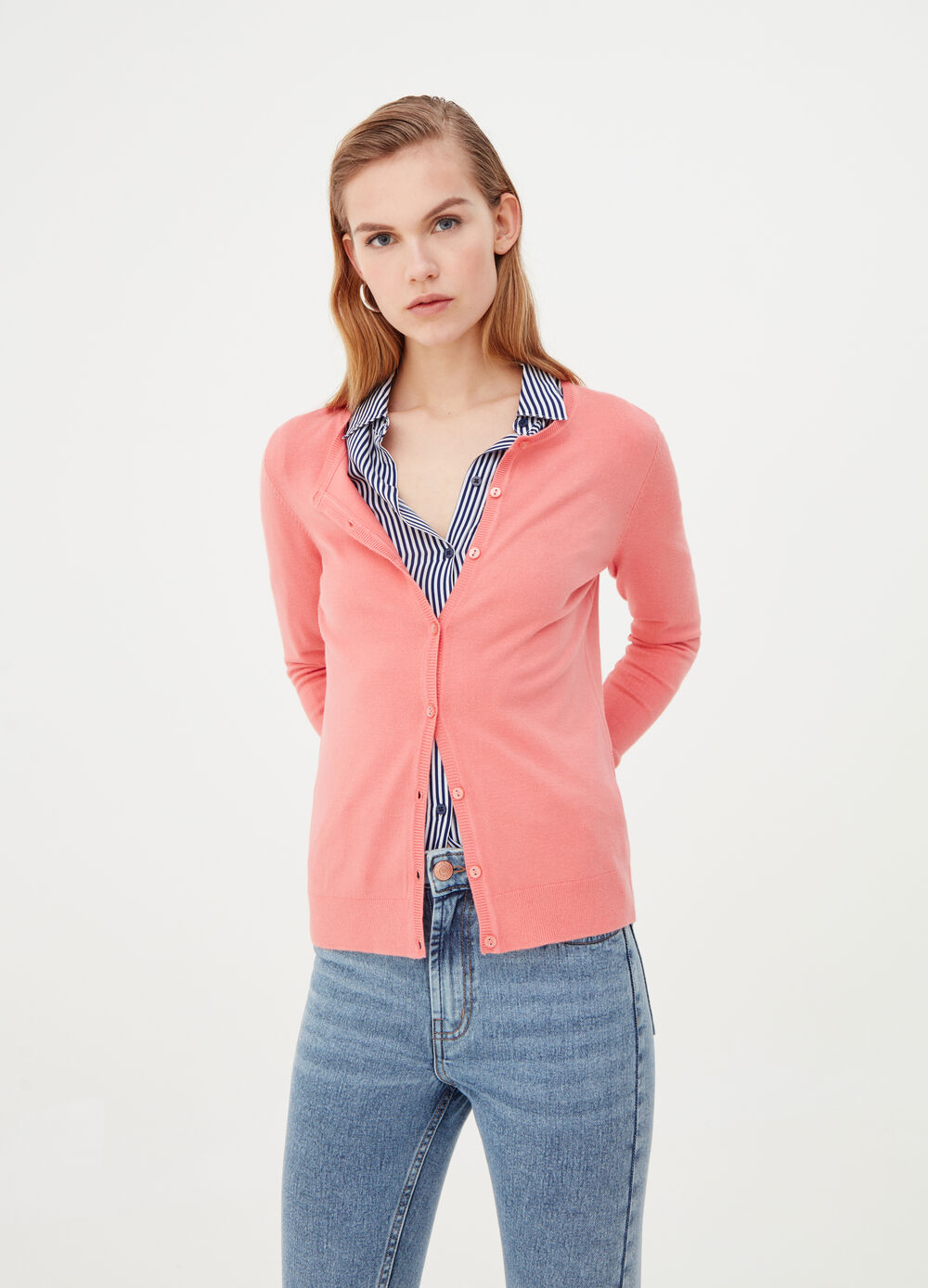 Ribbed basic cardigan in viscose blend