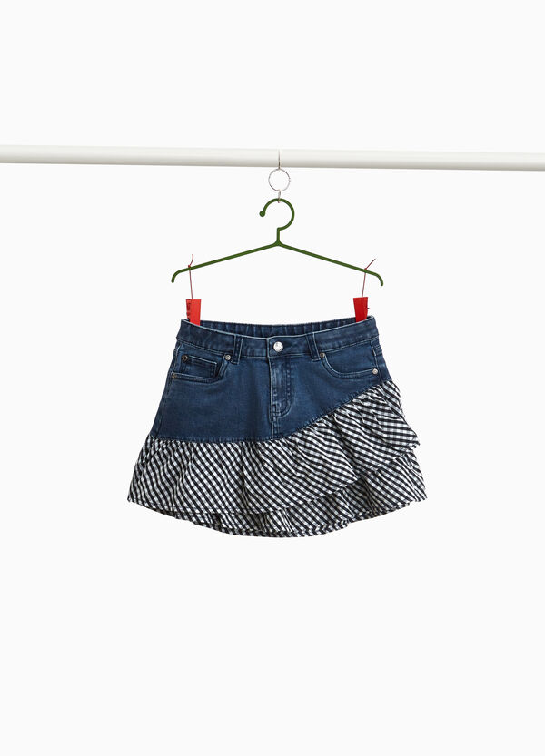 Stretch denim skirt with flounces