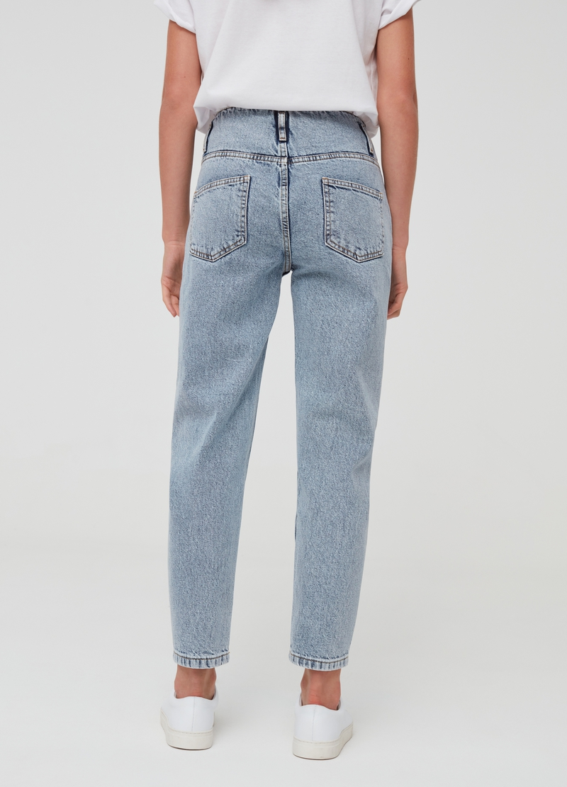 Mum-fit misdyed-effect jeans with zip image number null