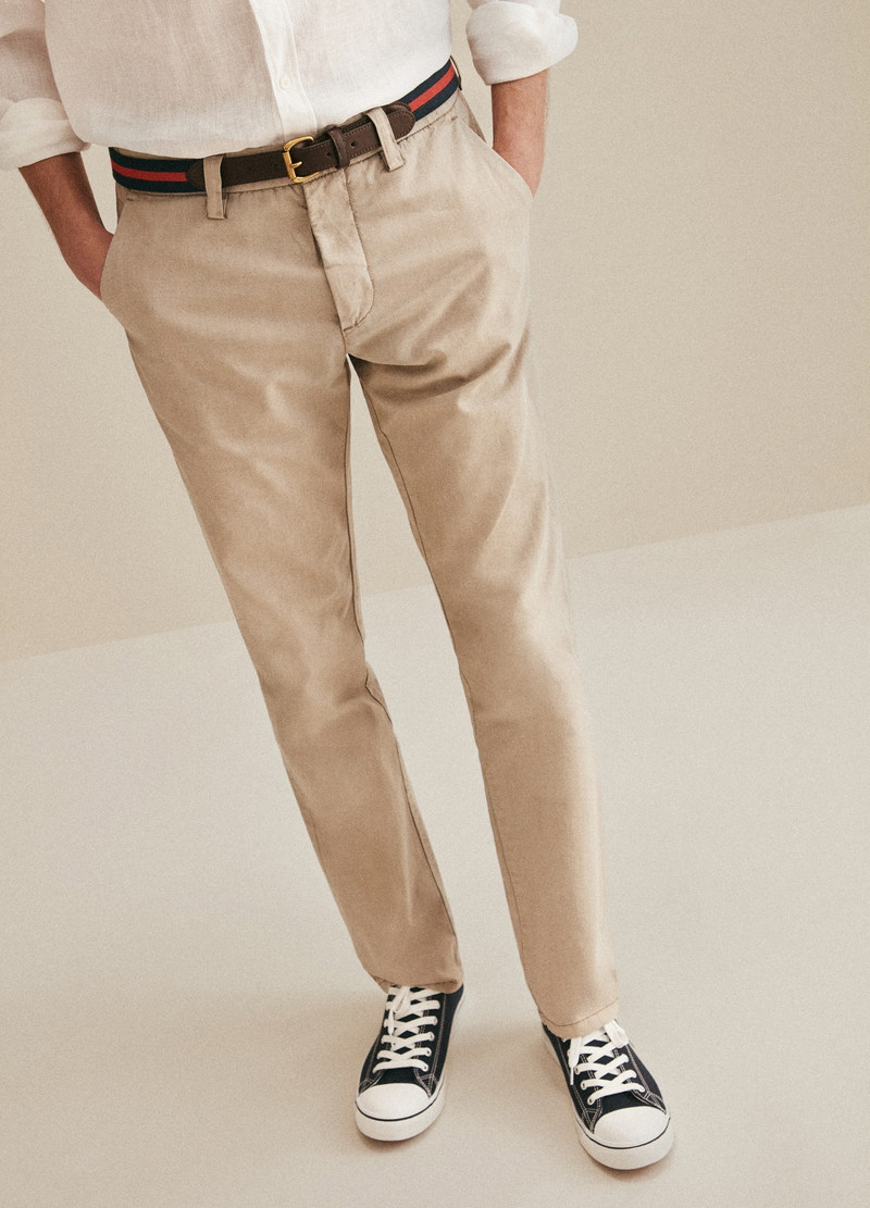 PIOMBO linen and cotton chino trousers image number null