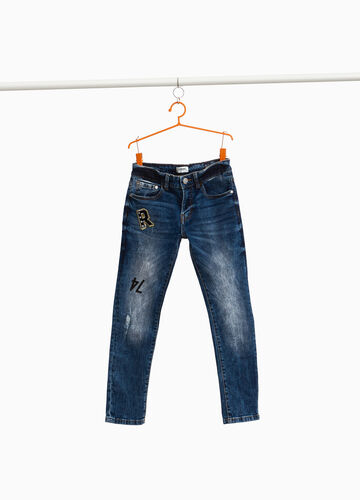 Jeans straight fit used con patch