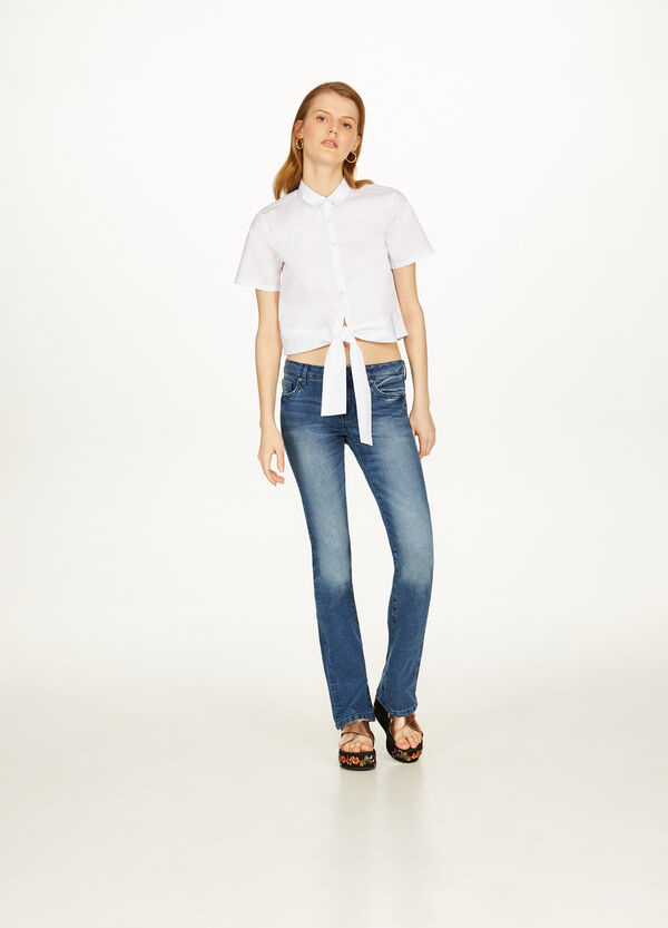Cotton shirt with knotted hem