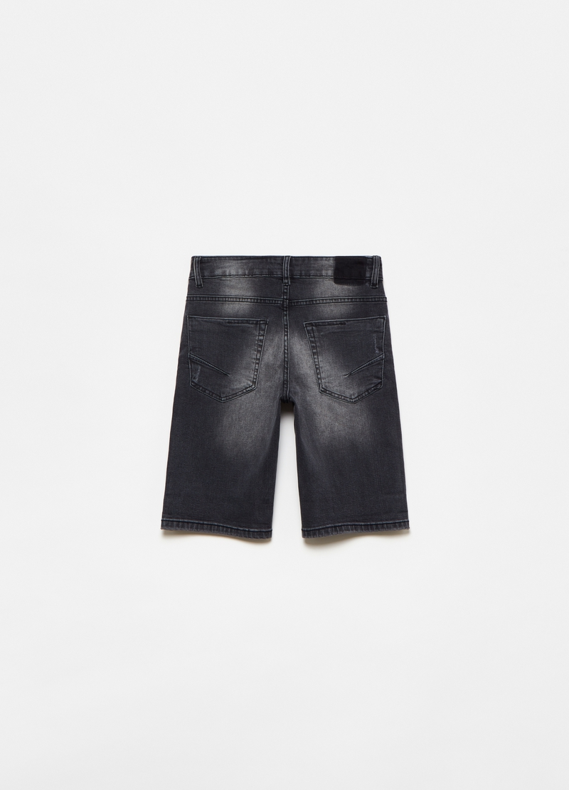 Denim Bermuda shorts with abrasions image number null