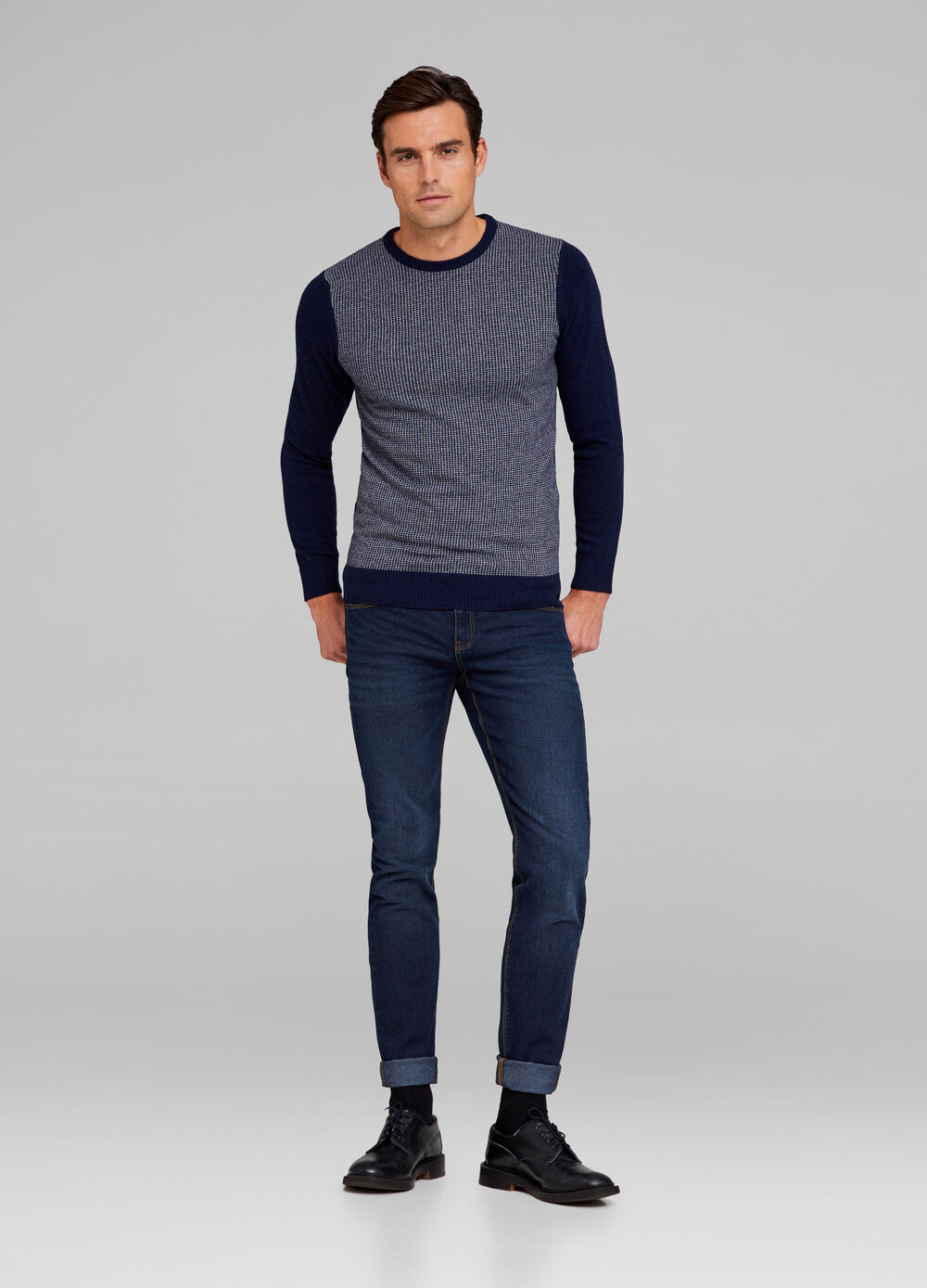 Two-tone pullover in tencel and wool blend