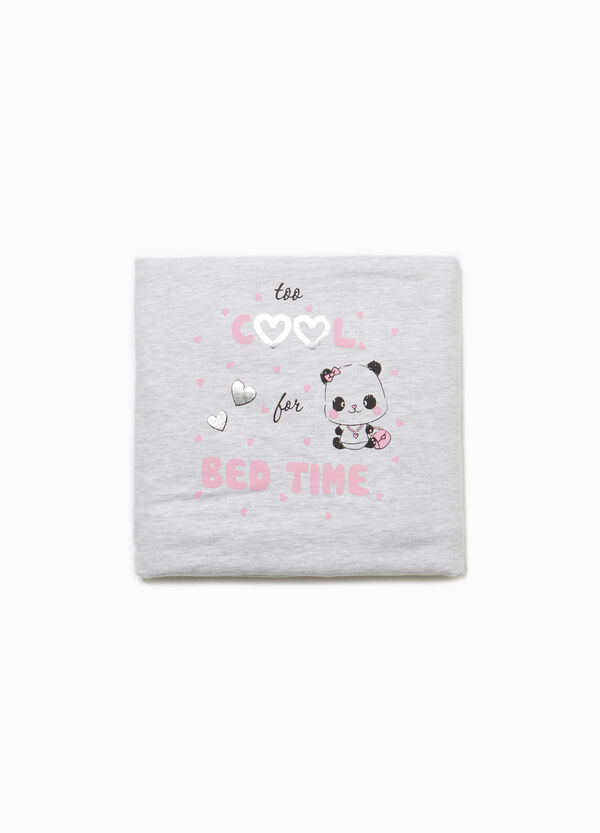 Blanket in 100% cotton with panda print