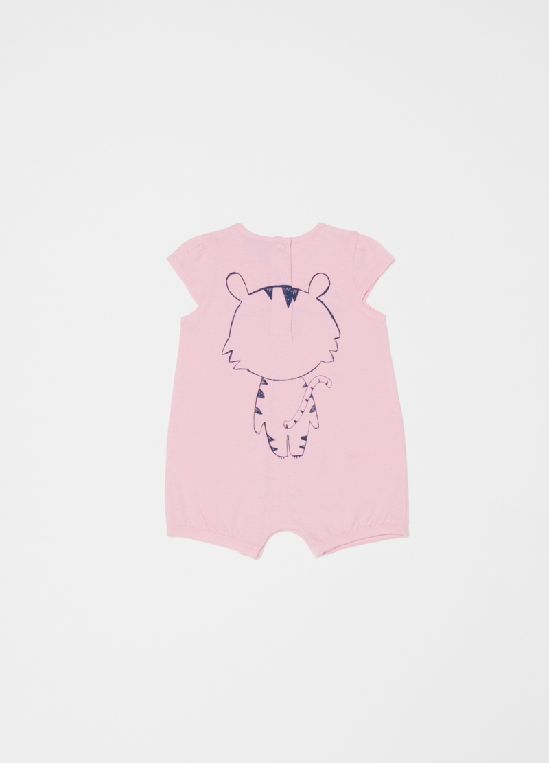 Short onesie in 100% organic cotton with print image number null