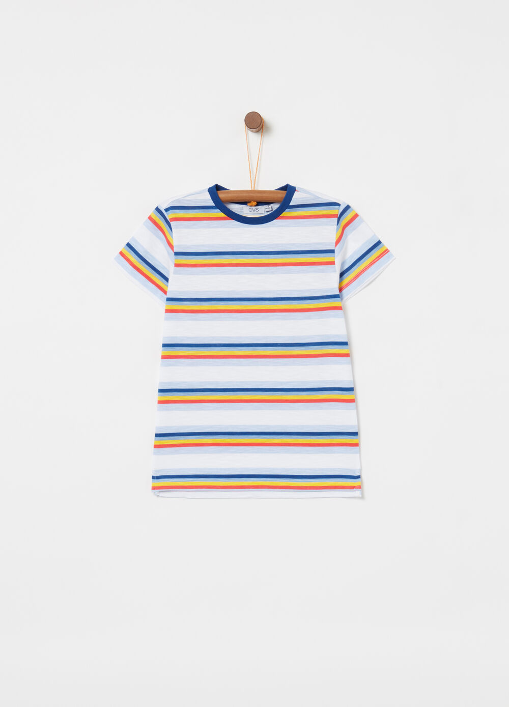 T-shirt in iridescent biocotton with striped print