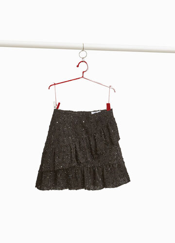 Skirt with sequins and flounce