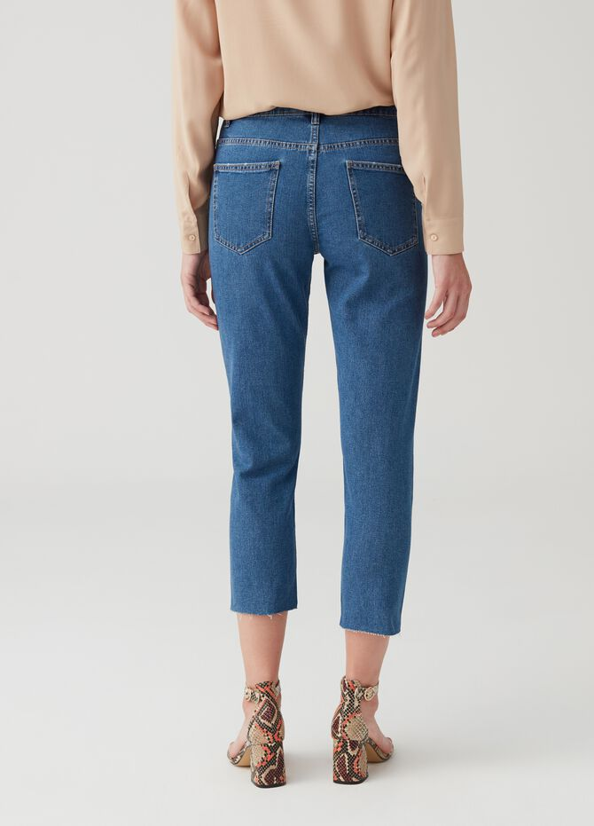 Jeans straight fit cropped cinque tasche