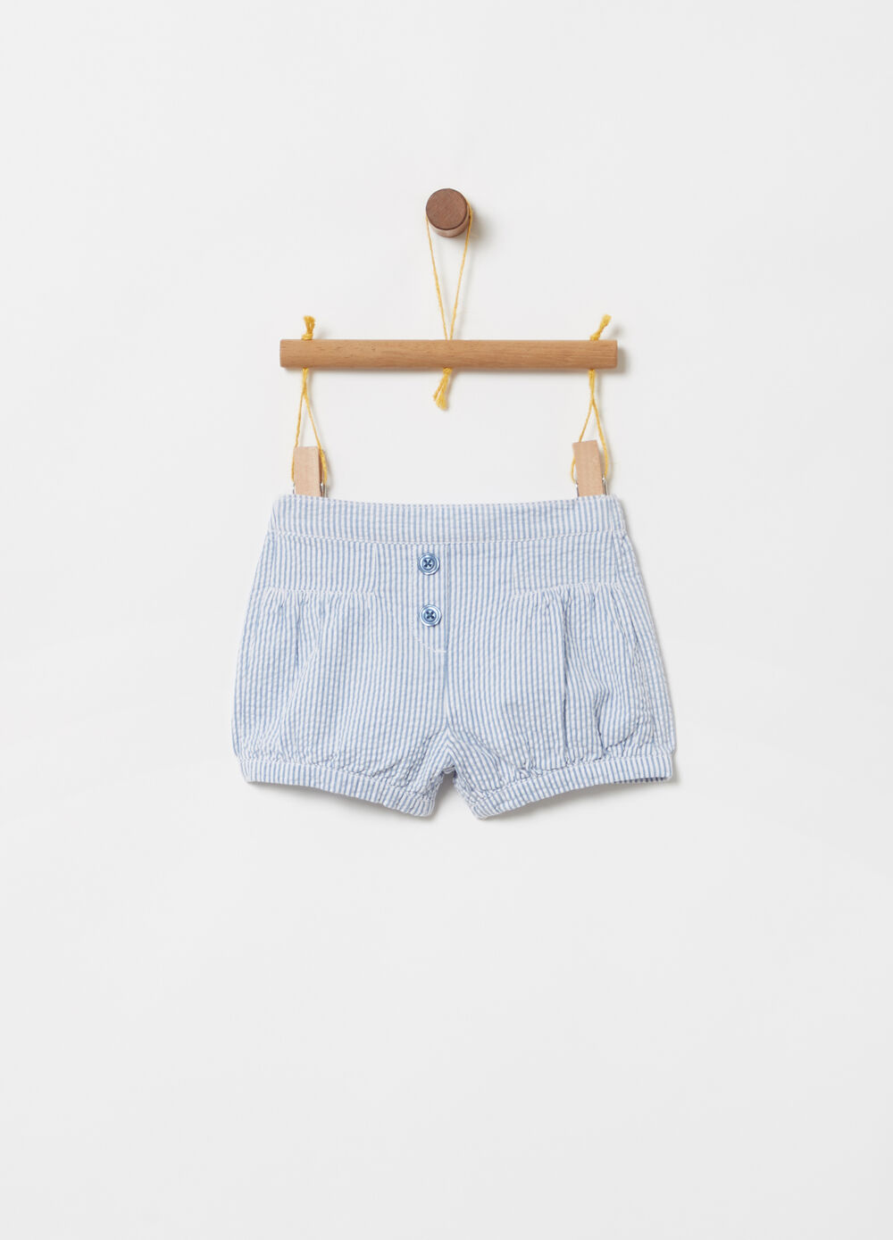 BCI cotton shorts with yarn-dyed stripes