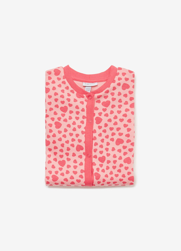 Sleepsuit in 100% cotton with hearts
