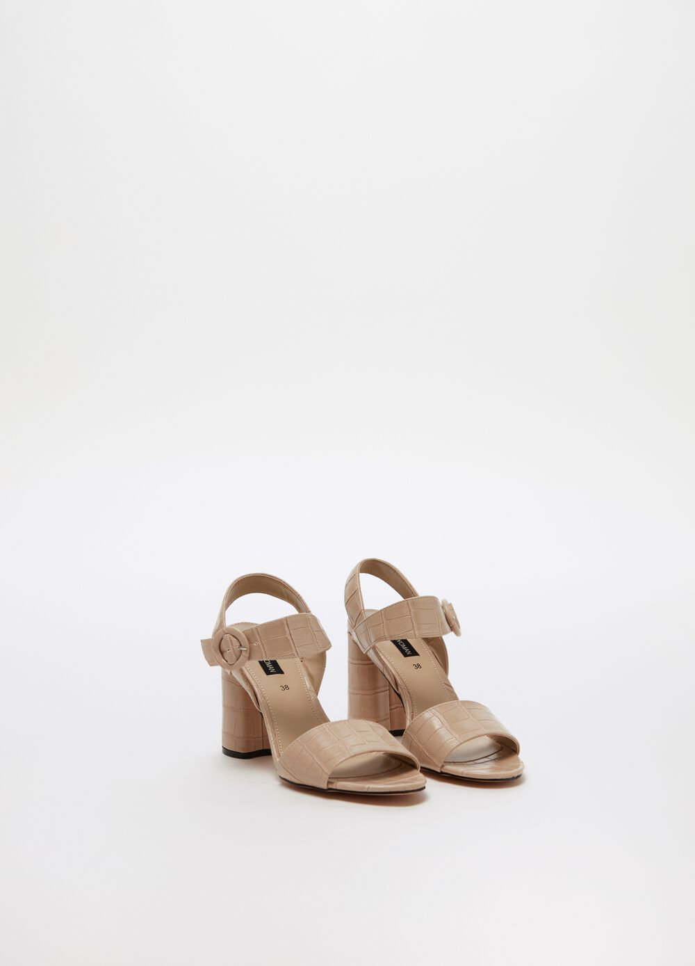 Crocodile-effect sandals with high heel