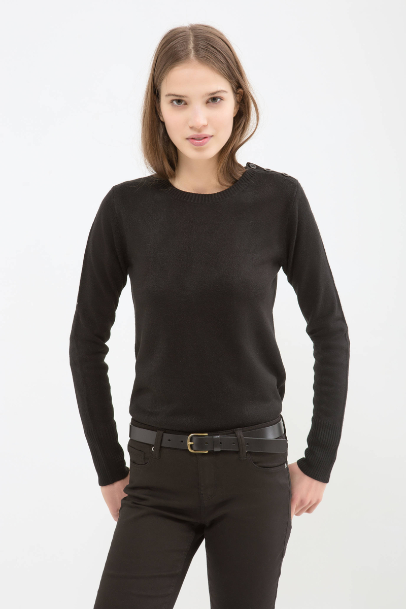 Solid colour knitted pullover image number null