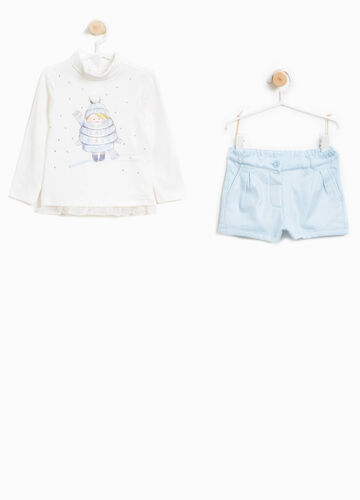 Stretch cotton turtleneck jumper and shorts outfit