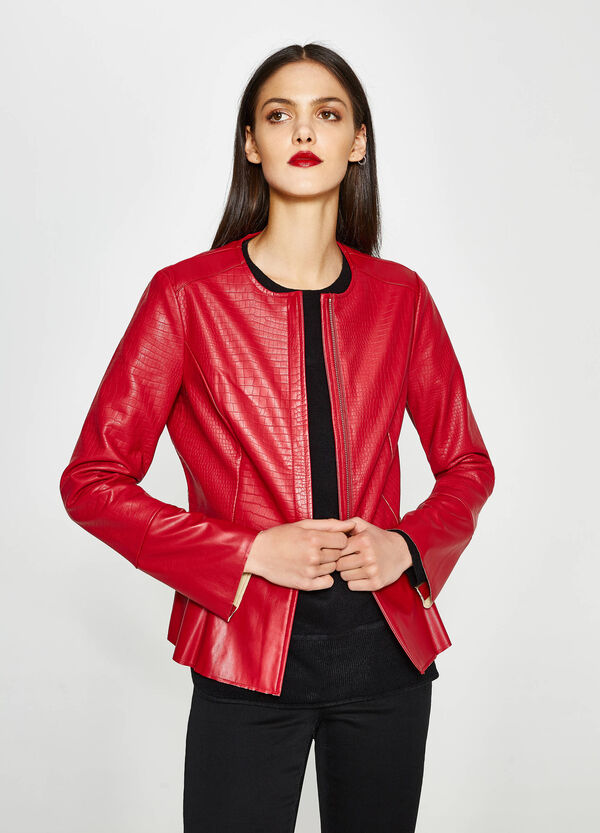 Snakeskin-effect jacket with zip