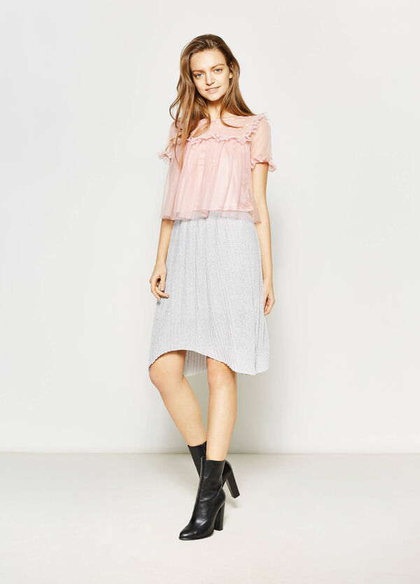Pleated skirt with lurex | OVS