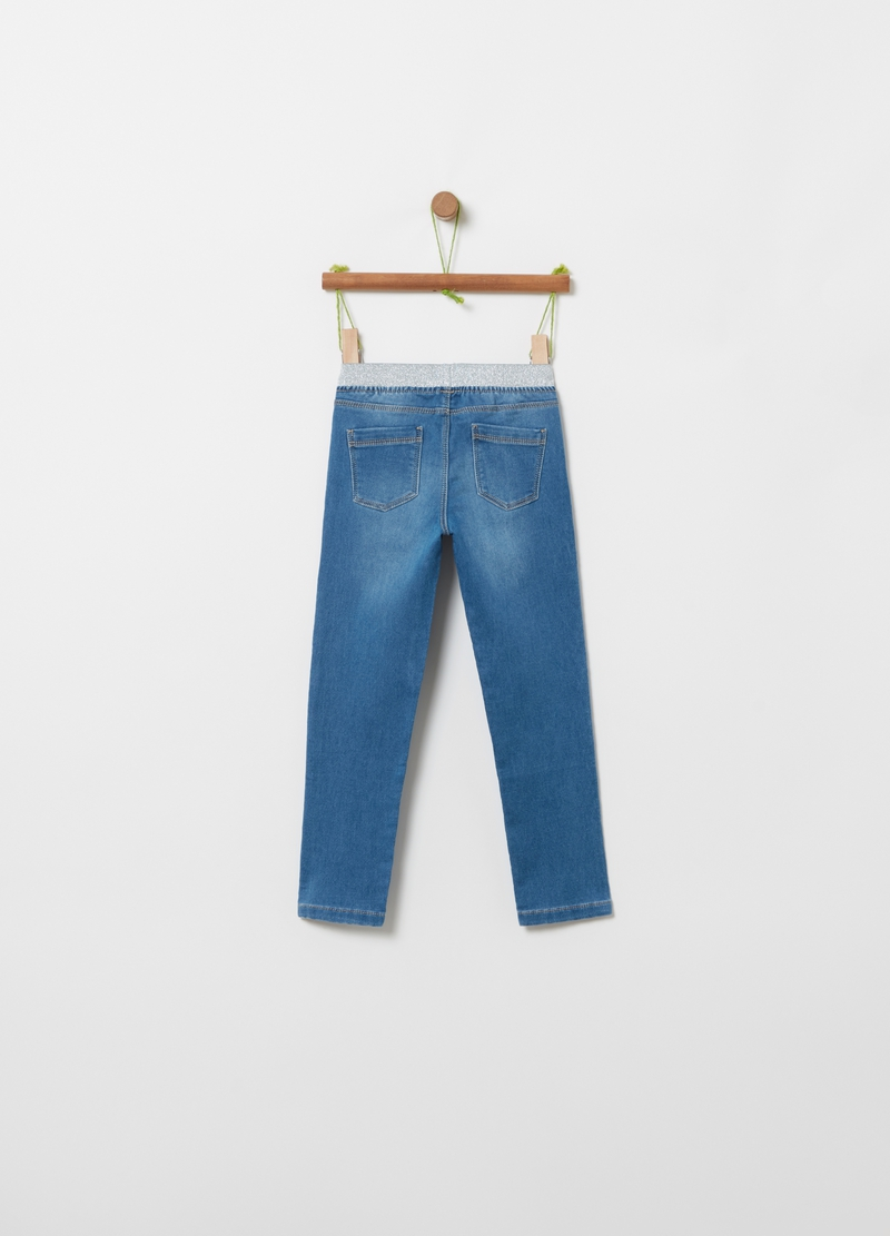 Jeggings in denim con glitter image number null