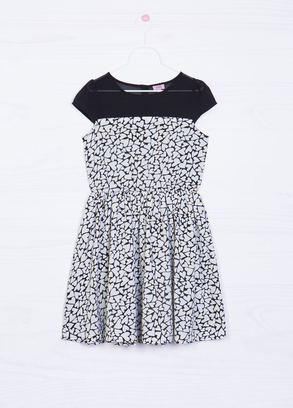 Short-sleeved dress with heart print. | OVS